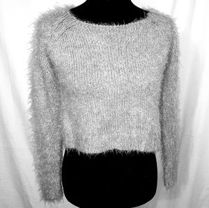 Decree Size XS Crop Sweater Silver/Gray